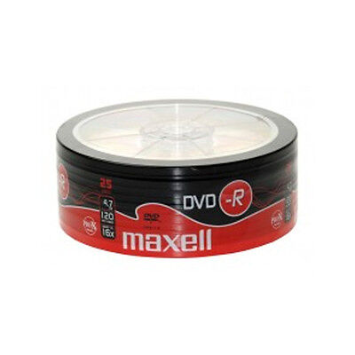 25 MAXELL BLANK DVD-R 16x 4.7GB 120m DVDR DISCS SHRINK WRAPPED