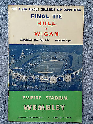 1959 - RUGBY LEAGUE CHALLENGE CUP FINAL PROGRAMME - HULL v WIGAN