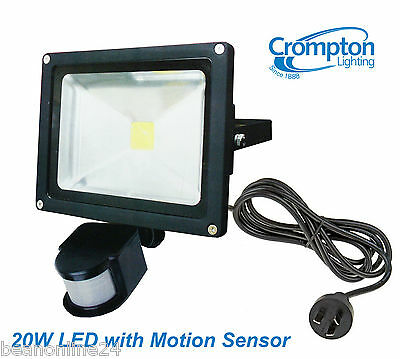 Crompton 20W LED Outdoor Security Floodlight with Motion Sensor, Cord & Plug
