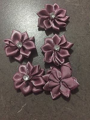 10 X Dusty Pink Flowers with Diamante Centre- Australian Supplier