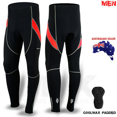 Mens Cycling Trouser Tights Athletic Cycle Legging Bicycle Pant Black/Red M-L-XL