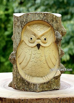 Unique Gift Hand Carved Wooden Owl Crocodile Wood Art Home Decor Statue Figurine