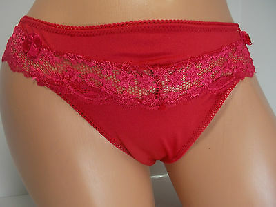 Jezebel Red Lace Trim Tanga Panty, size M MSRP $ 12