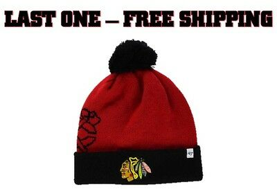 91478268cc4b2 Brand New NWT NHL Chicago Blackhawks 47 Double Stack Pom Knit Hat Cap Winter