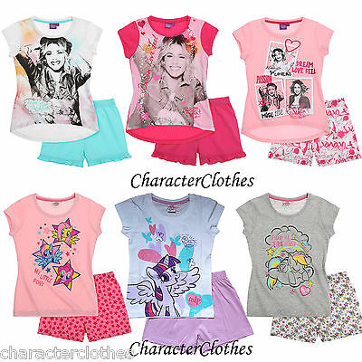 New Girls Official CHARACTER Short Pyjamas Kids Cartoon Nightwear Age 3-16 Years