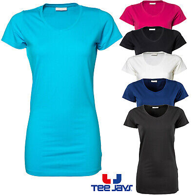 Tee Jays Ladies T-Shirt Stretch Extra Long V-Neck Basic Cotton Elastane Xs-2Xl