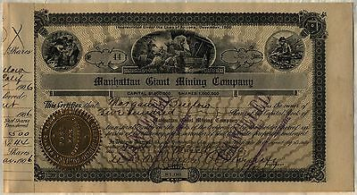 Manhattan Giant Mining Stock Certificate South Dakota Arizona