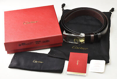 a045f7247aeb NEW Cartier Mans Double C Buckle Belt L5000418 Leather Black Brown  Reversible