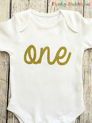Gold Glitter First Birthday Bodysuit Onesie Top Vest Party Outfit Cake Smash