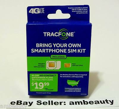 Tracfone Bring Your Own Smartphone SIM Card Kit Nano/Micro/Standard GSM CDMA 4G