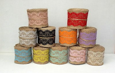 Clearance! Jute Burlap Hessian Ribbon Lace Edge 6cm wide 2m length Asstd Colours