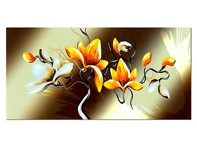 HD Glasbild EG4100501115 BLUMEN ABSTRAKT ORANGE II 100 x 50 cm Wandbild DESIGN