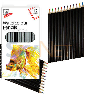 12 x Water Colour Artist Pencils for Drawing Sketching Shading Bulk Pack Art