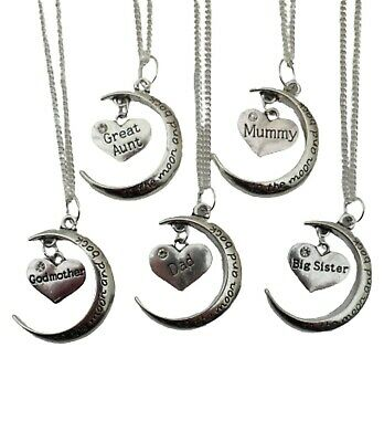 925 STERLING SILVER NECKLACE TO THE MOON AND BACK Family Charm Pendant Gift+ Bag