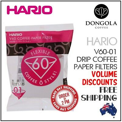 HARIO V60 01 White Coffee Paper Filters Dripper Pour Over Cone Cup Brewer