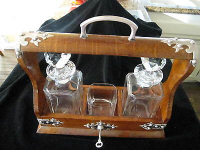 "Tantalus, 2 Crystal Decanters, 1 Tumbler,14 3/8""l, 13""h, With Key,exlt Condition"