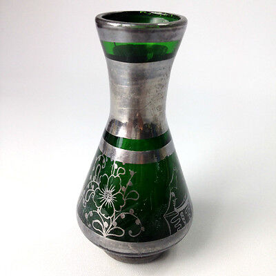Antique Green Glass & Solid Silver Inlay Victorian Small Mini Vase