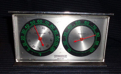 Vintage Springfield - Temperature / Humidity Weather station - Wall or Desk  USA