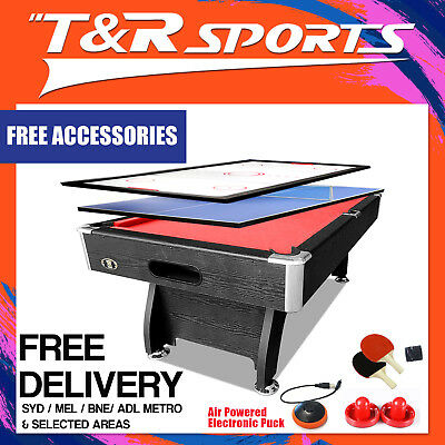 7Ft Red Mdf Pool Snooker Table + Air Hockey + Table Tennis Top Free Metro Post*
