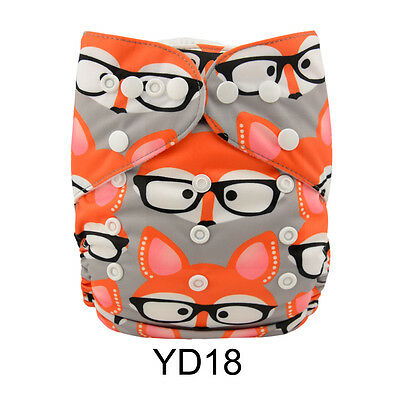 1 New Glasses Fox Baby Cloth Diaper Nappy Reusable Washable Adjustable Pocket