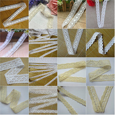 Vintage Cotton Embroidered Lace Edge Trim Ribbon Wedding Applique Sewing Crafts