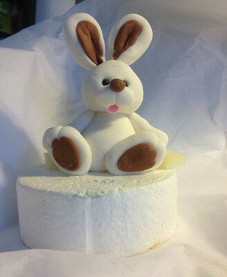 7cm BUNNY Cake topper Picnic set & 12 matching Edible Fondant Cup Cake Toppers