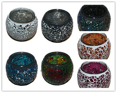 7CM Sparkling Glass Mosaic Cup Tea Light Candle Holders Wedding Holders £3.38