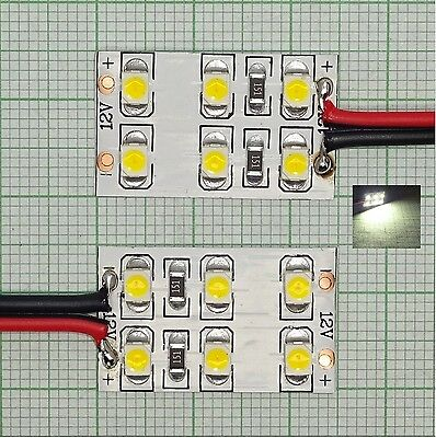 2X Warm white led Interior lighting with Connection cable 25X16mm,6 smd EB0280