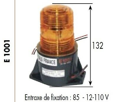 FEUX A ECLATS GYROPHARE 12-110 Volts H 130 mm AMBRE ORANGE E1001