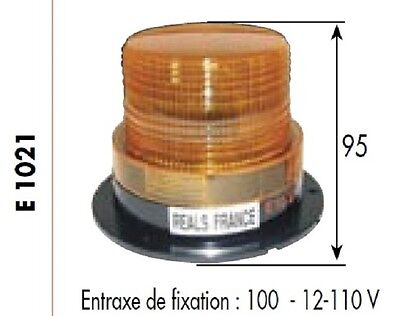 FEUX A ECLATS GYROPHARE 12-110 Volts H 95 mm AMBRE ORANGE E1021