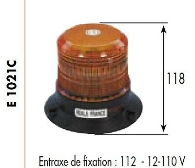 FEUX A ECLATS GYROPHARE 12-110 Volts H 118 mm AMBRE ORANGE E1021C