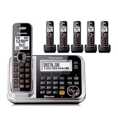 Panasonic KX-TG7876S 6 Handset Cordless Phone DECT 6.0 1.9GHz New
