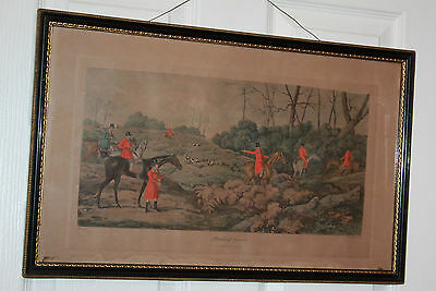 Pair of Fox Hunting Antique Prints Published 1821 T Sutherland Glazed Framed