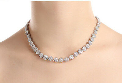 Elegant 18K GP Bridal Party Super Shining CZ Necklace/Free Expedite Shipping