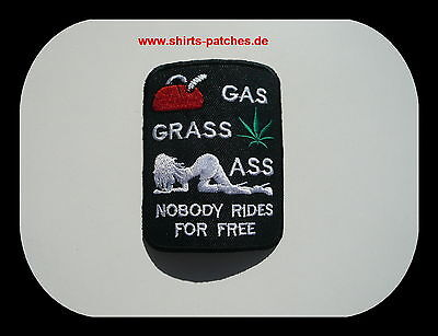 GAS;GRAS;ASS,...NOBODY RIDES FOR FREE,Patch,Aufnäher,Aufbügler,Badge,Biker,Funny