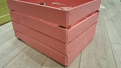 Pink Painted European Vintage Wooden Apple Crate Princess Toy Box Girls Tidy