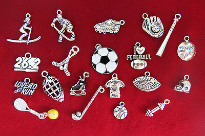"""SET! 20pc """"sports"""" deluxe charms set in antique silver style (CS5)"""