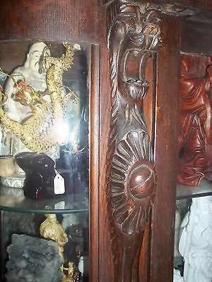 Vintage Victorian Oak Surpentine Front Lion Heads  Feet China Cabinet  oversize