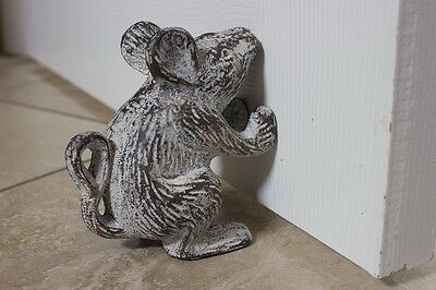 Vintage Antique Look Cast Iron Mouse Rat Rustic Door Stop Home Garden Decor Gift