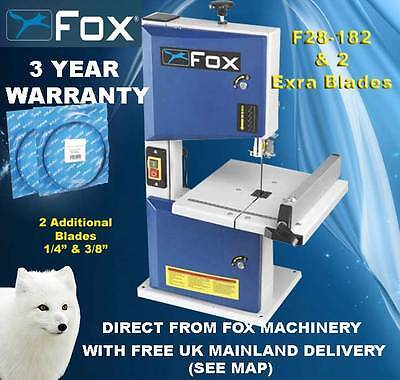 Fox F28-182A Benchtop Bandsaw with 3 year warranty & Two Additional Blades