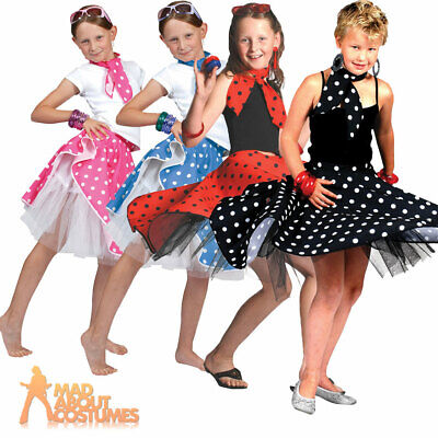 Child Rock n Roll Skirt Black Red Pink Blue Girls 1950s Fancy Dress Outfit New