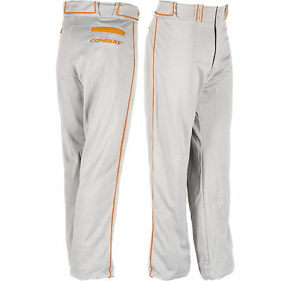Combat Stock Adult Baseball/Softball Pant with Neon Piping - Grey/Orange - XXL