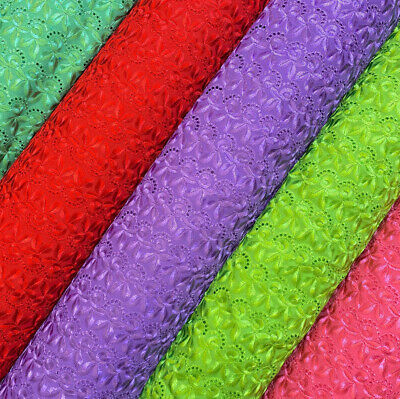 "Cotton Eyelet Spiral Embroidery Fabric 44"" Wide By The Yard in Multiple Colors"
