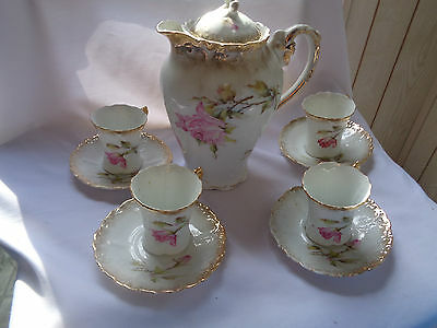 Bavaria Germany Chocolate Service With Rose Motif