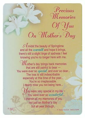 Precious Memories Of You On Mother's Day Grave side Memorial Card