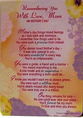 Remembering You With Love Mum On Mother's Day Grave side Memorial Card