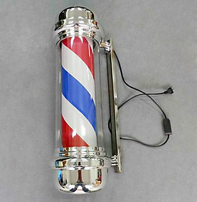 "27"" LED Barber Pole Light Red White Blue Stripes Rotating Metal Hair Salon Shop"
