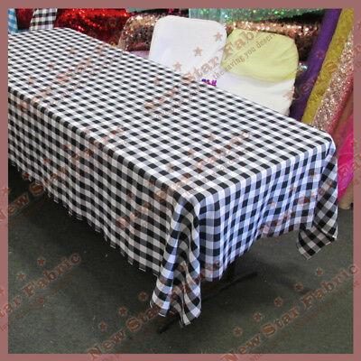 Round 120/'/' Tablecloth Checker Polyester Buffalo Gingham Turquoise Blue woven1/'/'