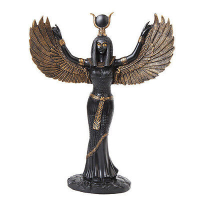 "Isis Egyptian Goddess with Open Wings Black/Gold Statue Figurine 11-7/8"" Tall"