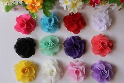 Chiffon Rose DIY Fabric Flower Appliques Embellishment Craft Wedding Christening
